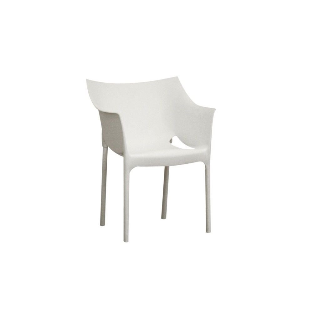 Set of 2 Molded Plastic Arm Chairs White - Baxton Studio