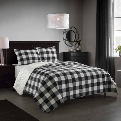Full Queen 3pc Buffalo Plaid Quilt Set, Black And White Check Queen Bedding