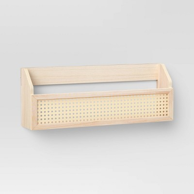 "23"" x 8.5"" Wood and Rattan Wall Shelf with Caning Warm Tone Brown - Threshold™"