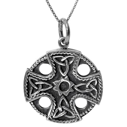 "Women's Journee Collection Triquetra Equal Arm Cross Pendant Necklace in Sterling Silver - Black (18"") - image 1 of 2"