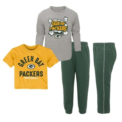 b4f9ba90b NFL Green Bay Packers Toddler Gametime Fun 3pk Shirt  Pants Set   Target