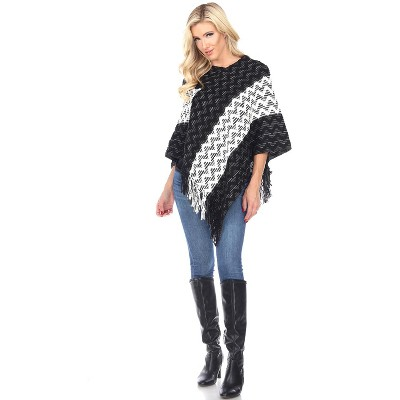 White Mark Womens Stripe Three Quarter Sleeve V Neck Poncho Sweater - Black One Size Fits Most