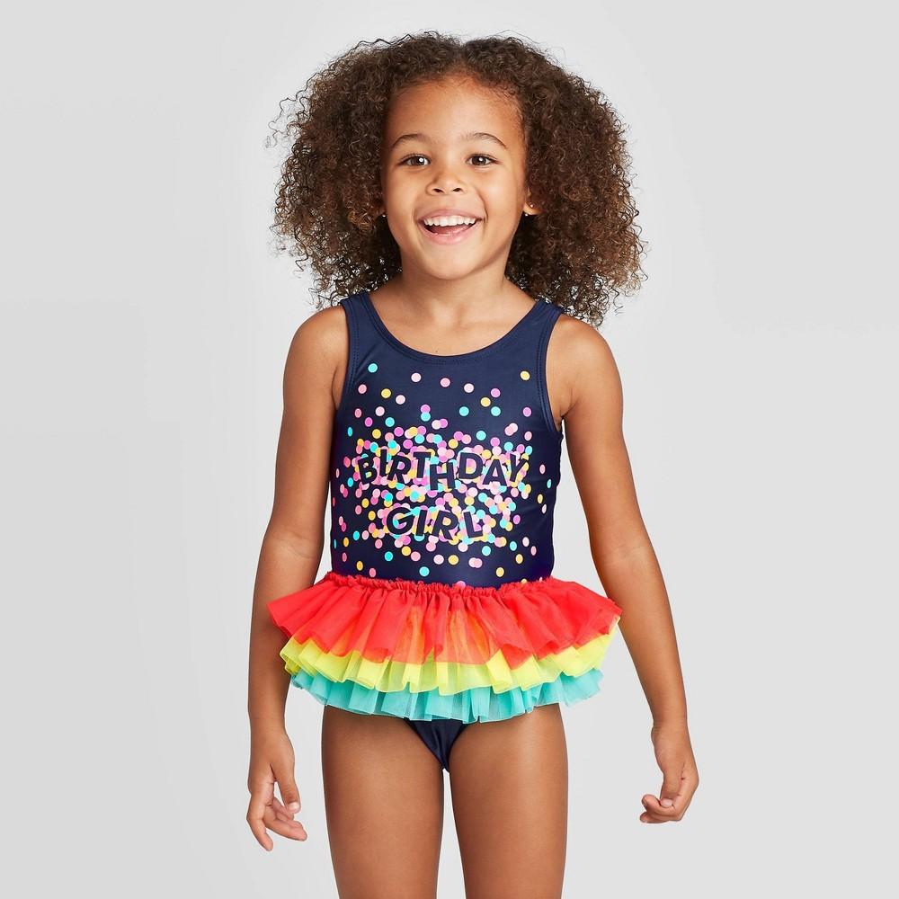 Image of Toddler Girls' Bow Back Flutter Tutu One Piece Swimsuit - Cat & Jack Navy 12M, Girl's, Blue