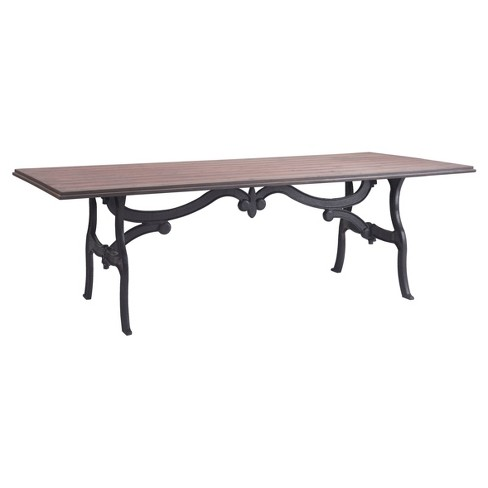 "Romantic Ornate Metal 94"" Rectangular Dining Table - Distressed Natural - ZM Home - image 1 of 7"