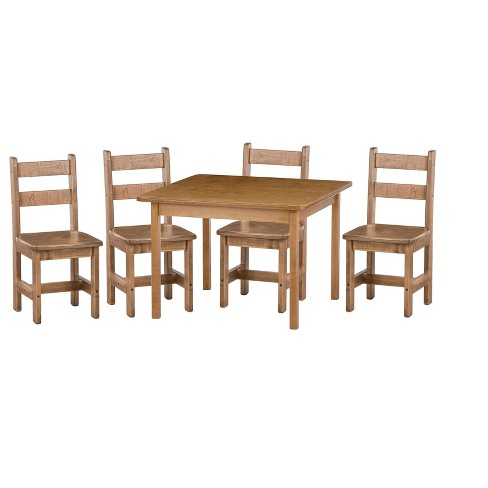 Remley Kids Wooden Square Table with 4 Chairs Dining Playset - Ships  Assembled, Harvest