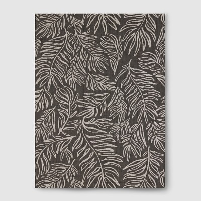 5' x 7' Leaves Outdoor Rug Black - Project 62™
