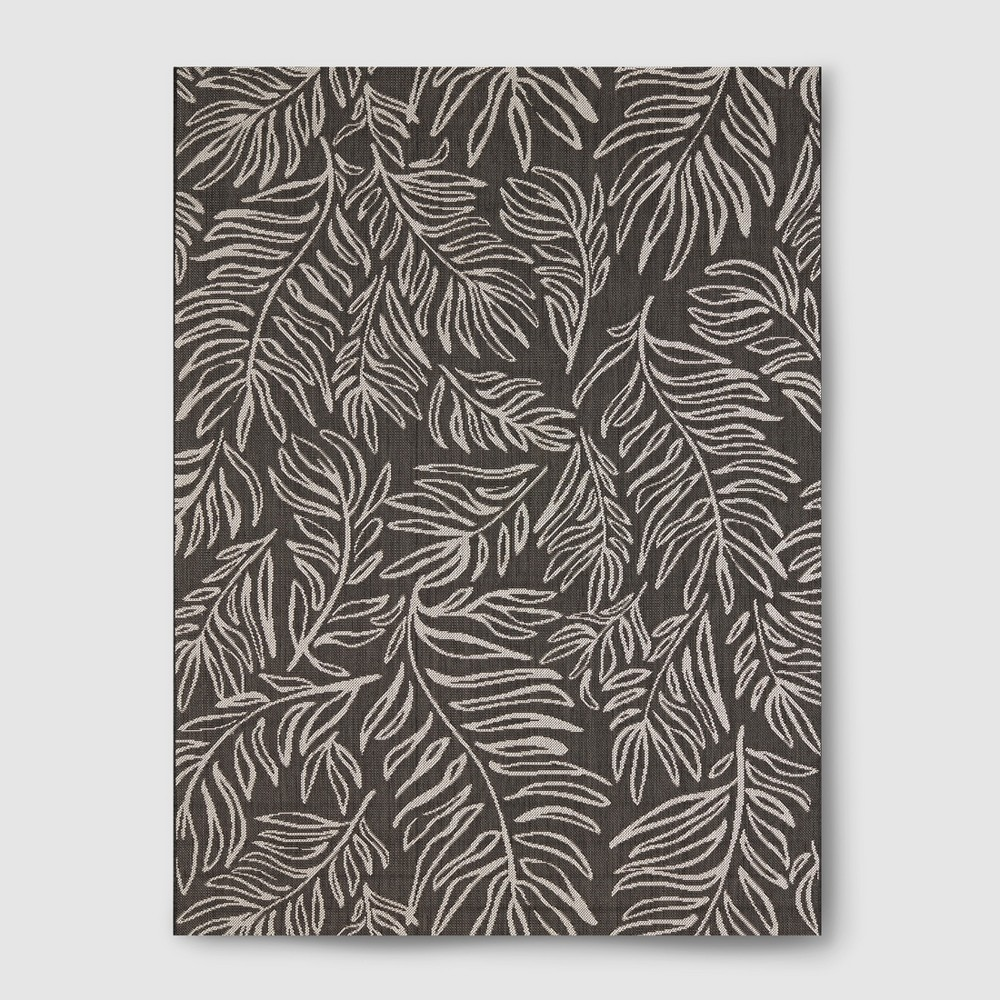 Image of 5' x 7' Leaves Outdoor Rug Black - Project 62, Black White