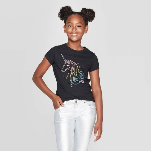Girls' Short Sleeve Rainbow Unicorn Graphic T-Shirt - Cat & Jack™ Black - image 1 of 3