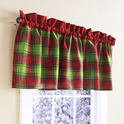 Lakeside Red and Green Plaid Window Christmas Valance - Holiday Bathroom Accent