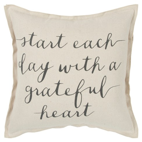 Oversize 'With a Grateful Heart' Quote Poly Filled Square Throw Pillow Neutral - Rizzy Home - image 1 of 4