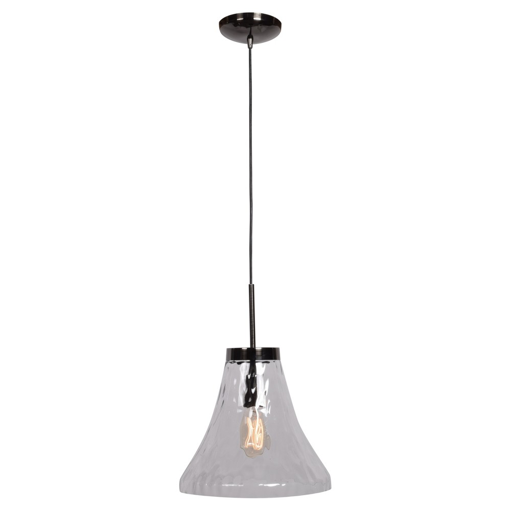 Simplicite 1-Light Bell Pendant - Black Chrome - Clear Glass Shade