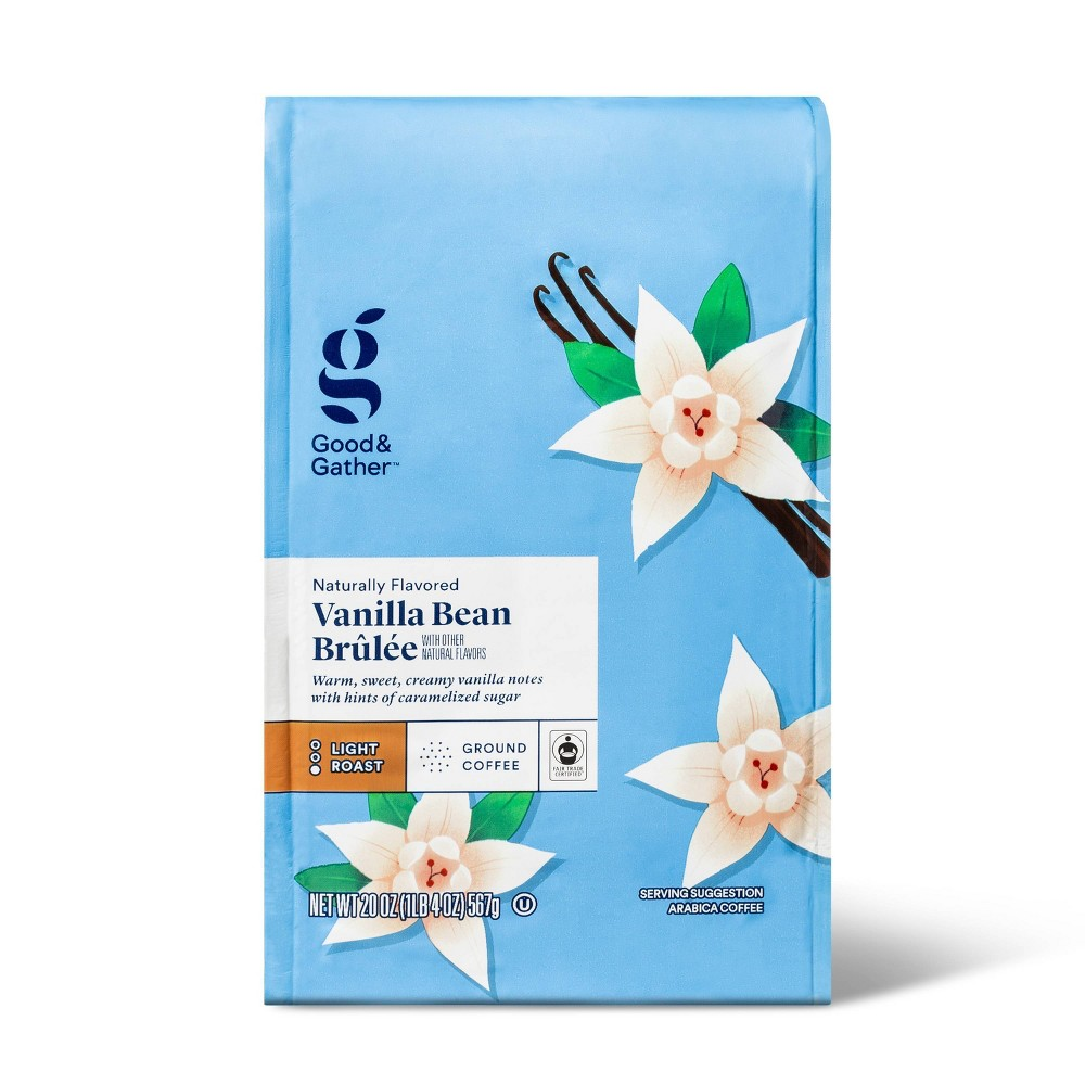 Naturally Flavored Vanilla Bean Brulee Light Roast Ground Coffee 20oz Good 38 Gather 8482
