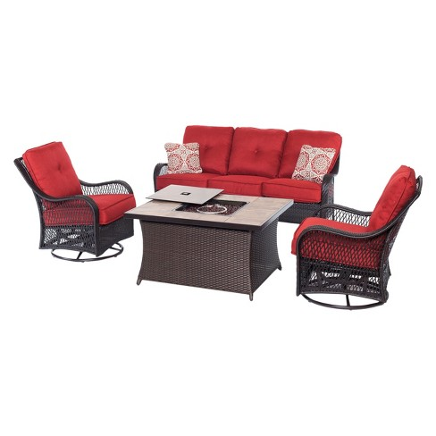 Merritt 4pc All-Weather Wicker Patio Conversation Set with Fire Pit Table - Red - Hanover - image 1 of 7