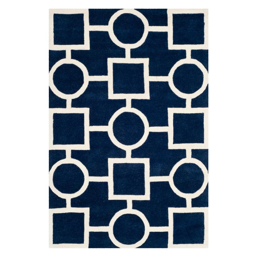 3'X5' Geometric Tufted Accent Rug Dark Blue/Ivory - Safavieh