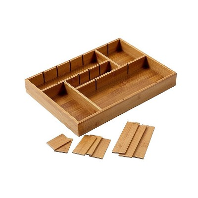 """Juvale Kitchen Drawer Bamboo Organizer with Removable Dividers for Cutlery 14 x 10 x 2"""""""