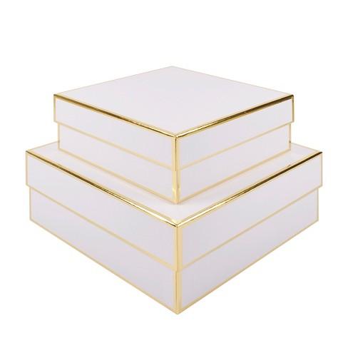 2pc White Square Gift Box Set Sugar Paper