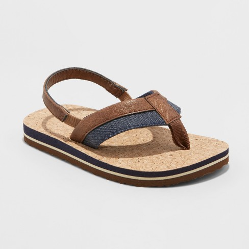 Toddler Boys' Walker Footbed Sandals - Genuine Kids® from OshKosh Brown M - image 1 of 3