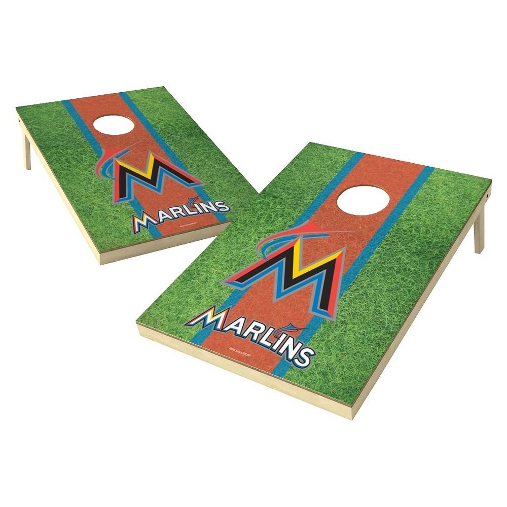 Miami Marlins Wild Sports Field Shield Cornhole Bag Toss Set - 2x3 ft.