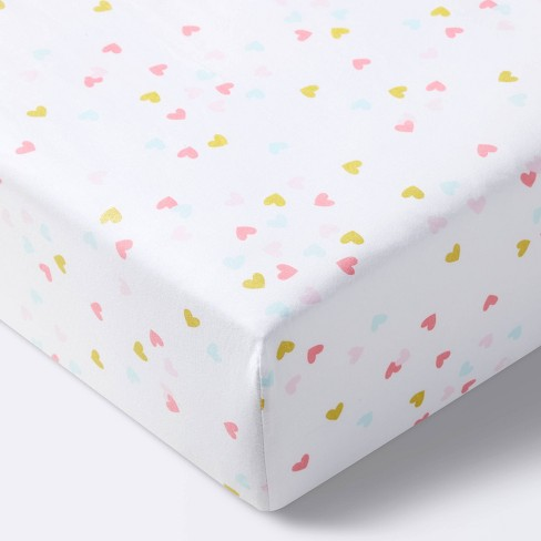 Fitted Crib Sheet Hearts - Cloud Island™ White - image 1 of 4