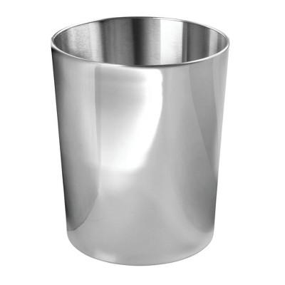 mDesign Round Metal Small Trash Can Wastebasket, Garbage Bin