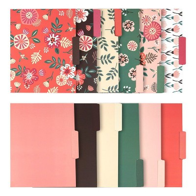 Juvale 12 Pack Floral Decorative File Folders, A4 Letter Size Document Organizer with 1/3-Cut Tabs, 9.5x11.5