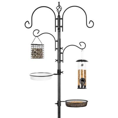 Best Choice Products 91in 4-Hook Bird Feeding Station, Steel Multi-Feeder Stand w/ 2 Feeders, Tray, Bird Bath