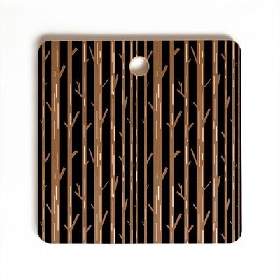 Lisa Argyropoulos Modern Trees Black Cutting Board Square - Deny Designs