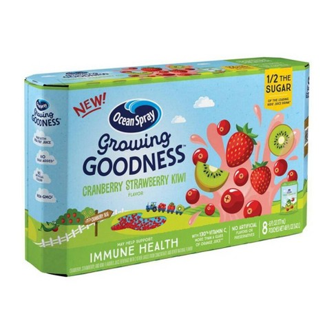 Ocean Spray Growing Goodness Cranberry Strawberry Kiwi Immune Health Juice Drink - 8pk/6 fl oz Pouches - image 1 of 3