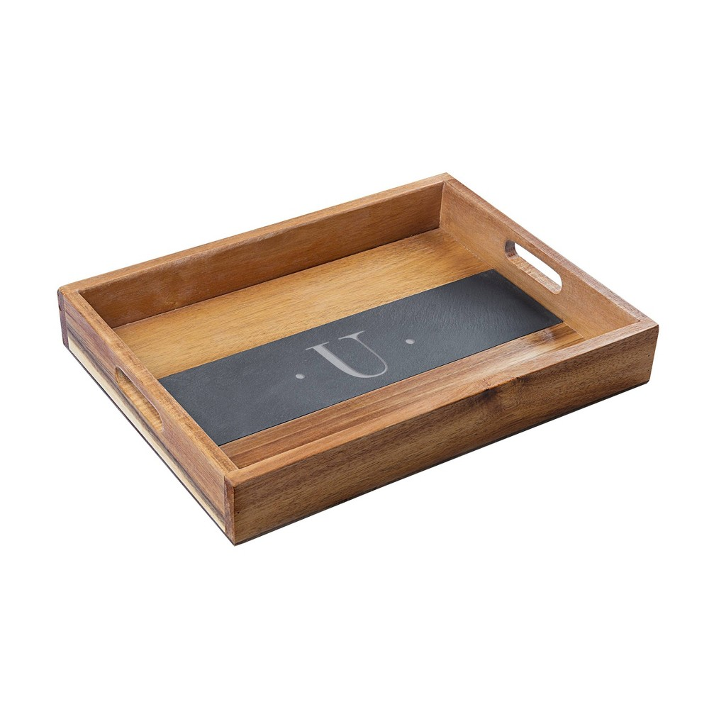 Monogram Acacia and Slate Serving Tray U - Cathy's Concepts, Black Brown