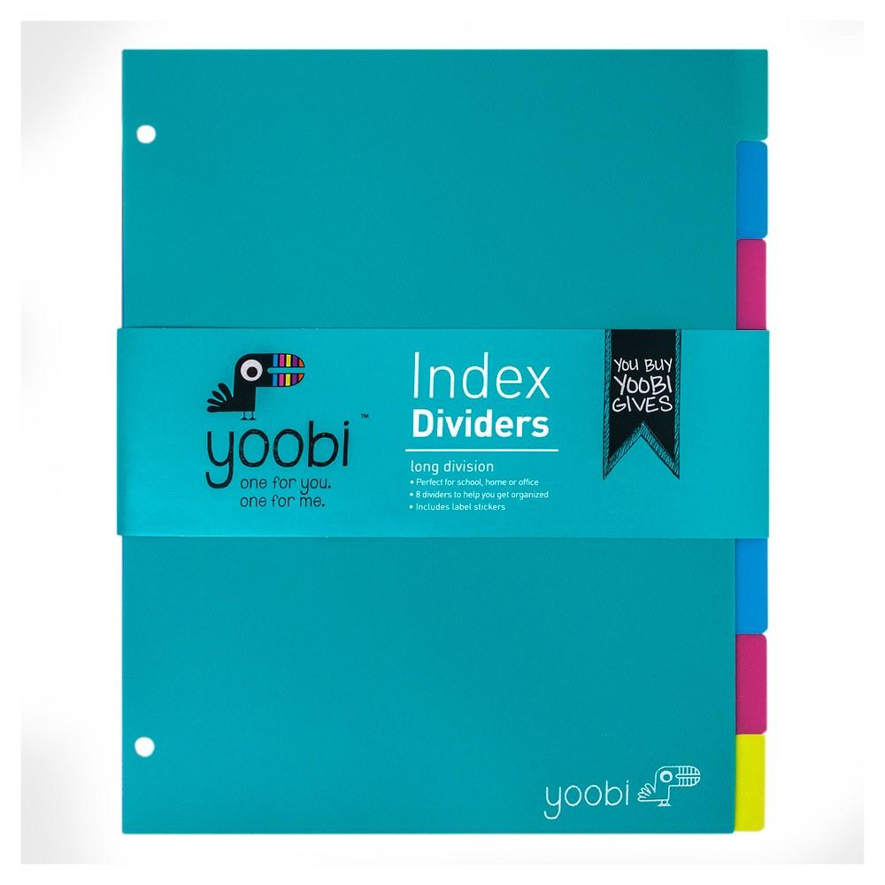 Yoobi Index Plastic Dividers - Aqua/Multicolor, 8 Pack, Multi-Colored
