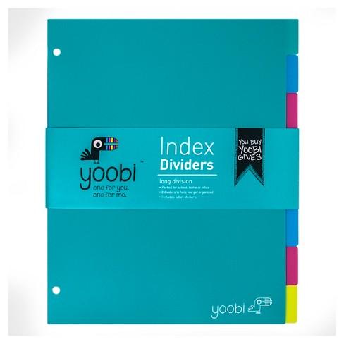 Yoobi™ Index Plastic Dividers - Aqua/Multicolor, 8 Pack - image 1 of 2