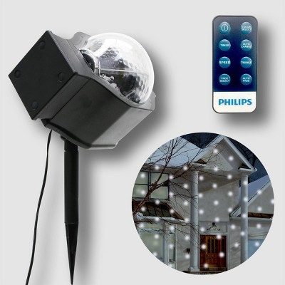 Philips Christmas LED Motion Projector Falling Snow Cool White & RGB Remote