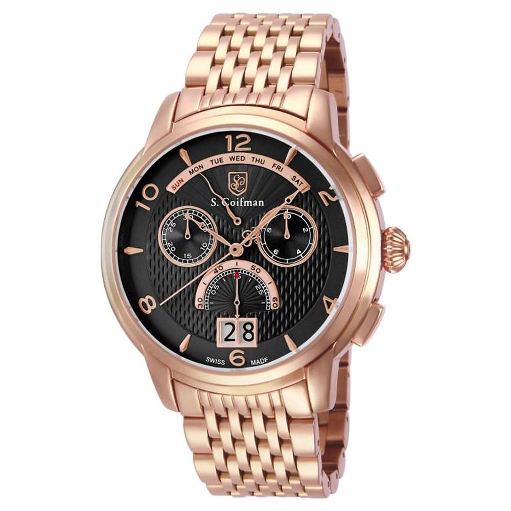 Men's Invicta SC0189 Quartz Chronograph Black Dial Link Watch - Rose Gold