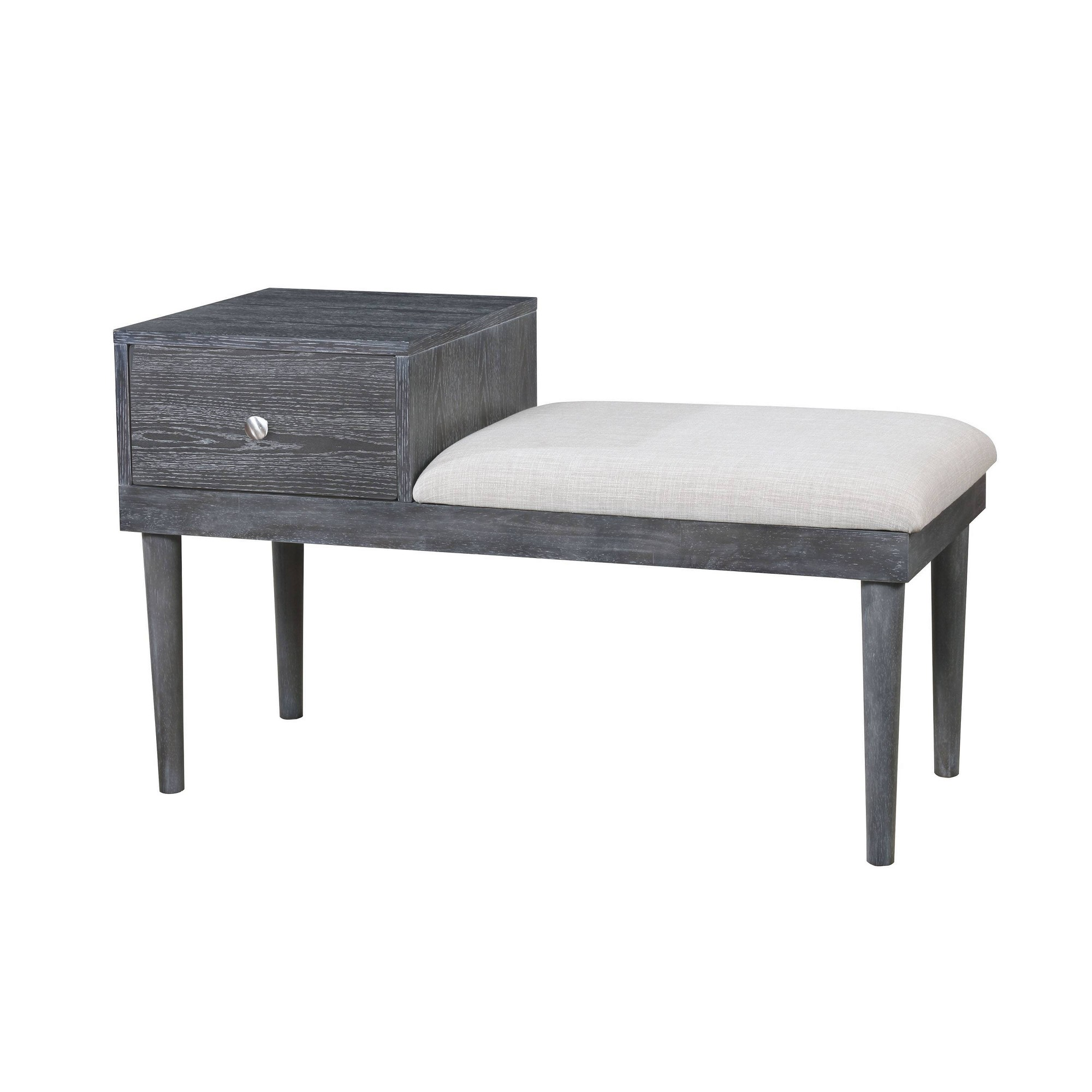 Luce Mid - Century Modern Storage Bench Weathered Gray - Homes: Inside + Out, Thundering Grey