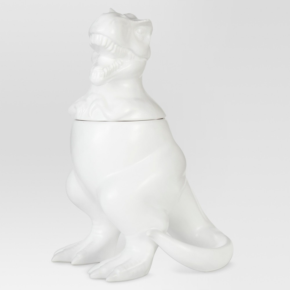 T-Rex Cookie Jar Stoneware Matte White - Threshold