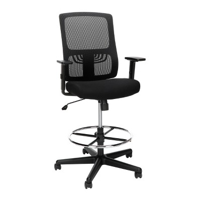 Essentials Mid Back Mesh Drafting Stool with Lumbar Support Black - OFM