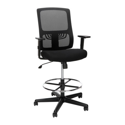 Essentials Mid Back Mesh Drafting Stool with Lumbar Support Black - OFM - image 1 of 4