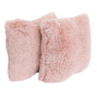 2pk Rose Smoke Chubby Faux Fur Pillow Pink - Décor Therapy