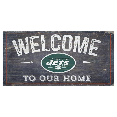 """NFL New York Jets Fan Creations 6""""x12"""" Welcome Distressed Sign - image 1 of 1"""