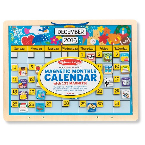 Melissa & Doug® Monthly Magnetic Calendar With 133 Magnets and 2 Fabric-Hinged Dry-Erase Boards - image 1 of 3