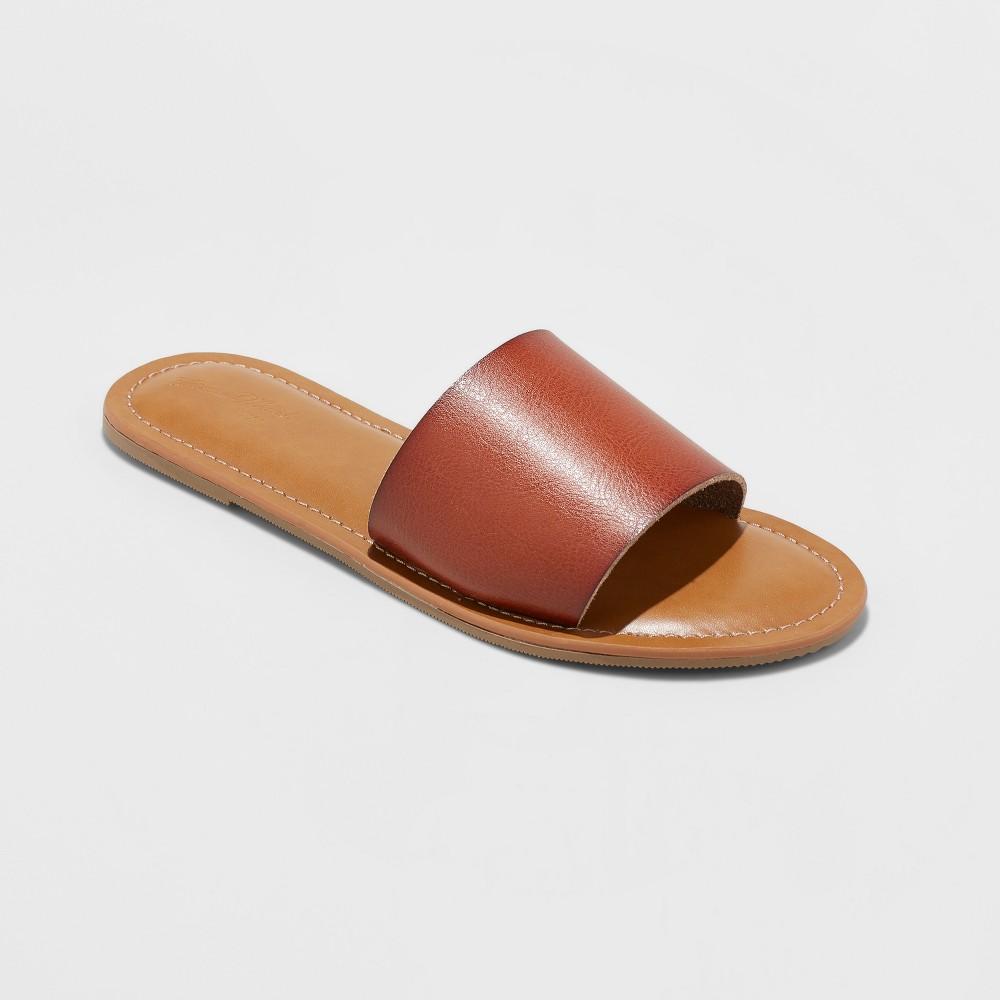 Women's Kerrigan Wide Width Slide Sandal - Universal Thread Cognac (Red) 8W, Size: 8 Wide