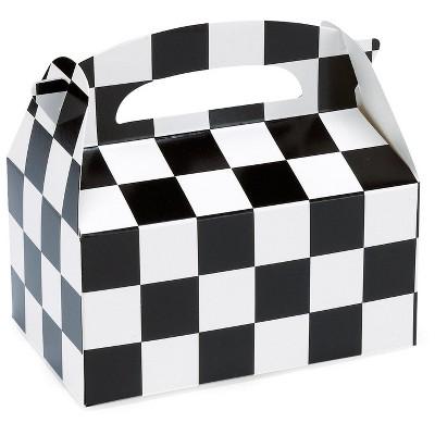 8ct Check Gift Box Party Favor Black/White