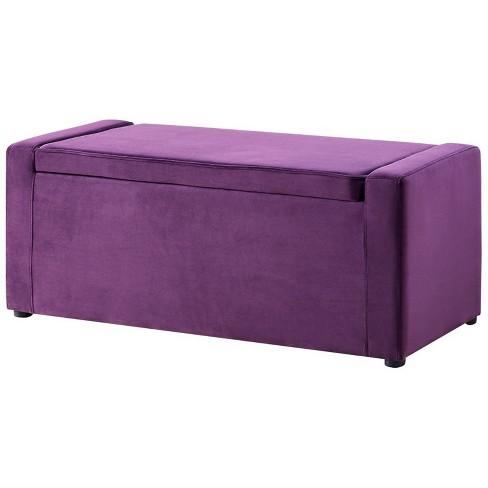 Jake Purple Velvet Storage Bench - Shoe Storage - Upholstered in Purple - Posh Living - image 1 of 3