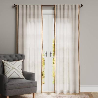 Marlow Velvet Trim Light Filtering Curtain Panel - Threshold™