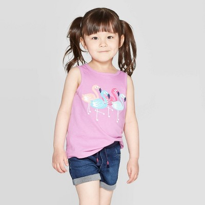 Toddler Girls' 'Bird' Graphic Tank Top - Cat & Jack™ Purple 5T