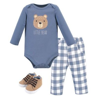 Hudson Baby Infant Boy Cotton Bodysuit, Pant and Shoe 3pc Set, Little Bear