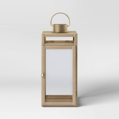"16"" x 7"" Metal Lantern Candle Holder Matte Gold - Threshold™"