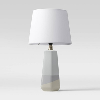 Small Dipped Ceramic Lamp Linen Shade Blue/White - Threshold™