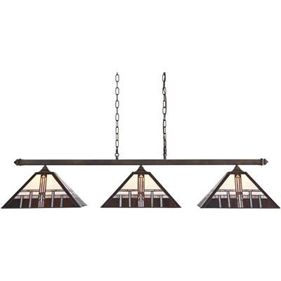 "Robert Louis Tiffany Bronze Linear Island Pendant Chandelier 56"" Wide Tiffany Style Alfred Geometric Glass 3-Light Fixture Kitchen"