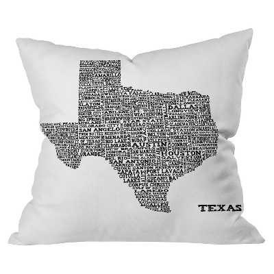 Black Texas Map Throw Pillow - Deny Designs